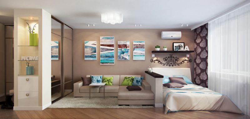 Дизайн комнаты кровать и диваны